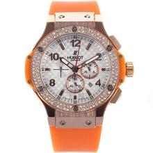 Replique Hublot Big Bang chronographe en or rose de travail lunette sertie de diamants boîtier avec bracelet en caoutchouc blanc à damiers Dial-Orange - Attractive Hublot Big Bang Montre pour vous 30319