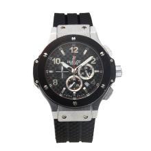 Replique Hublot Big Bang travail Chronographe avec bracelet en caoutchouc noir à carreaux Dial-Noire - Belle Montre Hublot Big Bang pour vous 30314