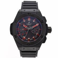 Replique Hublot Big Bang King chronographe suisse Valjoux 7750 Mouvement Boîtier PVD complet avec cadran noir-Bracelet Caoutchouc - Attractive Hublot Big Bang King montre pour vous 30276