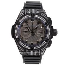 Replique Hublot Big Bang King chronographe suisse Valjoux 7750 Mouvement diamant PVD boîtier et la lunette avec cadran noir-Bracelet Caoutchouc - Attractive Hublot Big Bang Montre pour vous 30271