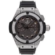 Replique Hublot Big Bang King chronographe suisse Valjoux 7750 Boîtier et lunette Diamant Mouvement avec cadran noir-Bracelet Caoutchouc - Attractive Hublot Big Bang Montre pour vous 30270