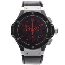 Replique Hublot Big Bang King chronographe de travail marqueurs bâton de rouge avec cadran noir-bracelet en cuir - Belle Montre Hublot Big Bang pour vous 30255