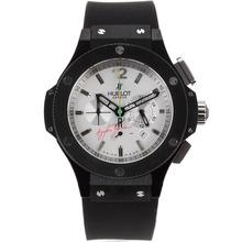 Replique Hublot Ayrton Senna travail Chronographe PVD affaire avec cadran blanc-bracelet en caoutchouc - Attractive Hublot Ayrton Senna montre pour vous 30252