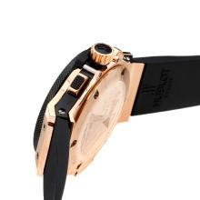 Replique Hublot Big Bang chronographe de travail boîtier en or rose avec bracelet en caoutchouc noir Cadran-Black - Belle Montre Hublot Big Bang pour vous 30250