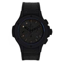 Replique Hublot Big Bang chronographe suisse Valjoux 7750 Mouvement PVD affaire avec cadran noir-Bracelet Caoutchouc - Attractive Hublot Big Bang Montre pour vous 30241