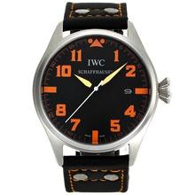 Replique Marqueurs IWC Big Pilot Orange avec cadran noir-bracelet en cuir - Belle Montre IWC Pilot pour vous 32062