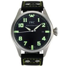 Replique IWC Big Pilot marqueurs verts avec cadran noir-bracelet en cuir - Belle Montre IWC Pilot pour vous 32061