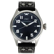 Replique IWC Big Pilot marqueurs blancs avec cadran noir-bracelet en cuir - Belle Montre IWC Pilot pour vous 32060