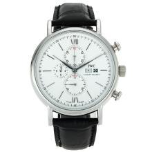 Replique IWC Portofino Chronographe de travail avec cadran blanc-bracelet en cuir 32056