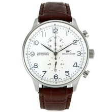 Replique IWC Portugaise Chronographe de travail marqueurs en argent avec cadran blanc-bracelet en cuir - Belle Montre IWC Portugaise pour vous 32055