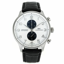 Replik IWC Portuguese Working Chronograph Silver Markers with White Dial-Leather Strap – Attractive IWC Portuguese Watch for You 32053
