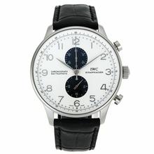 Replique IWC Portugaise Chronographe de travail marqueurs en argent avec cadran blanc-bracelet en cuir - Belle Montre IWC Portugaise pour vous 32053