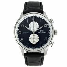 Replique IWC Portugaise marqueurs de travail Argent Chronographe avec cadran noir-bracelet en cuir - Attractive IWC Portugaise montre pour vous 32052