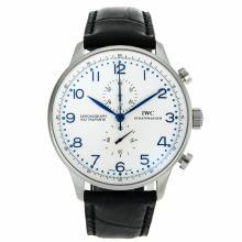 Replique IWC Portugaise Chronographe de travail marqueurs bleu avec cadran blanc-bracelet en cuir - Belle Montre IWC Portugaise pour vous 32051