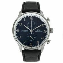 Replique IWC Portugaise marqueurs de travail Argent Chronographe avec cadran noir-bracelet en cuir - Attractive IWC Portugaise montre pour vous 32050