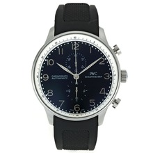 Replique IWC Portugaise Chronographe de travail marqueurs en argent avec cadran noir-Rubber Strap - Belle Montre IWC Portugaise pour vous 32049
