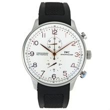 Replique IWC Portugaise Chronographe Rose Marqueurs de travail en or avec cadran blanc-bracelet en caoutchouc - Belle Montre IWC Portugaise pour vous 32048