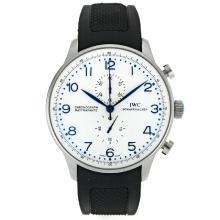 Replique IWC Portugaise Chronographe de travail marqueurs bleu avec cadran blanc-bracelet en caoutchouc - Belle Montre IWC Portugaise pour vous 32047