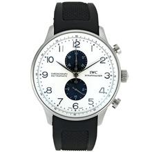 Replique IWC Portugaise Chronographe de travail marqueurs en argent avec cadran blanc-bracelet en caoutchouc - Belle Montre IWC Portugaise pour vous 32046