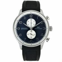 Replique IWC Portugaise Chronographe de travail marqueurs en argent avec cadran noir-Rubber Strap - Belle Montre IWC Portugaise pour vous 32045