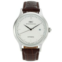 Replique IWC marqueurs classiques de bâton automatique avec cadran blanc-18K Mouvement plaqué or - Attractive Autres IWC montre pour vous 32032