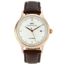 Replique CBI classique automatique or rose marqueurs de bâton de cas avec cadran blanc-18K Mouvement plaqué or - Attractive Autres IWC montre pour vous 32030
