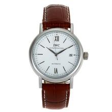 Replique IWC Portofino Automatic avec bracelet en cuir blanc Cadran Brun-32021