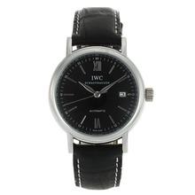 Replique IWC Portofino Automatic avec bracelet en cuir noir Cadran Noir-32020