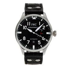 Replique IWC Big Pilot automatique marqueurs blancs avec cadran noir-bracelet en cuir - Belle Montre IWC Pilot pour vous 32016