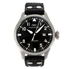 Replique IWC Pilot automatique marqueurs blancs avec cadran gris-bracelet en cuir - Belle Montre IWC Pilot pour vous 31997