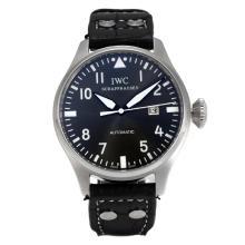 Replique IWC Pilot automatique avec cadran gris-bracelet en cuir - Montre Pilot IWC attrayant pour vous 31990