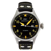 Replique IWC Pilot automatique marqueurs jaunes avec cadran noir-bracelet en cuir - Belle Montre IWC Pilot pour vous 31988