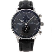 Replique IWC Portugaise Chronographe de travail avec Gray Dial-bracelet en cuir - Attractive IWC Portugaise montre pour vous 31954