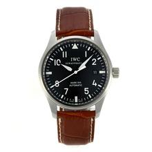 Replique Pilot IWC Mark XVI Swiss ETA 2892 Mouvement avec cadran noir bracelet en cuir-Brown - Attractive Montre d'Aviateur IWC pour vous 31930