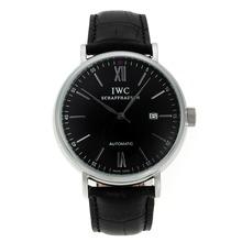 Replique CBI classique automatique avec cadran noir-marqueurs Silver Stick-bracelet en cuir - Attractive Autres IWC montre pour vous 31927