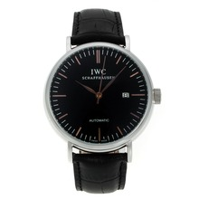 Replique CBI classique automatique avec cadran noir-Rose Bâton d'or Marqueurs-bracelet en cuir - Attractive Autres IWC montre pour vous 31926