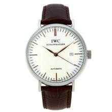 Replique CBI classique automatique avec cadran blanc-rose Bâton d'or Marqueurs-bracelet en cuir - Attractive Autres IWC montre pour vous 31925