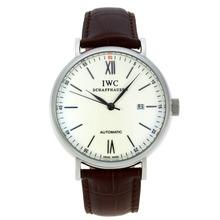 Replique CBI classique automatique avec cadran blanc-marqueurs Silver Stick-bracelet en cuir - Attractive Autres IWC montre pour vous 31924