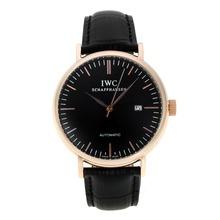 Replique IWC marqueurs classiques de bâton automatique boîtier en or rose avec cadran noir-bracelet en cuir - Attractive Autres IWC montre pour vous 31923
