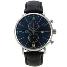 Replique IWC Portofino Chronographe de travail avec cadran noir-bracelet en cuir 31906