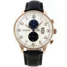 Replique IWC Portugaise Boris Becker Édition de travail chronographe en or rose avec cadran blanc-bracelet en cuir - Attractive montre IWC Portugaise pour vous 31902