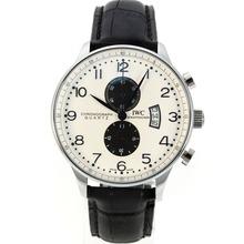 Replique IWC Portugaise Boris Becker Édition travail Chronographe avec cadran blanc-bracelet en cuir - Attractive montre IWC Portugaise pour vous 31901