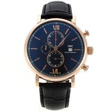 Replique IWC Portofino Chronographe de travail boîtier en or rose avec cadran noir-bracelet en cuir 31900