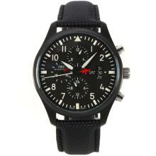 Replique Pilot IWC Top Gun Automatique PVD affaire avec cadran noir-bracelet en cuir - Attractive IWC Montre d'Aviateur pour vous 31889