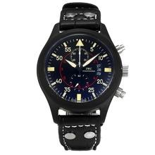 Replique IWC Portugais travail Chronographe PVD affaire avec cadran noir-beige Marqueurs - Attractive IWC Portugaise montre pour vous 31872