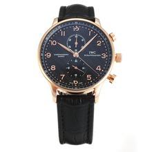 Replique IWC Chronographe Regulateur de travail boîtier en or rose avec cadran noir-bracelet en cuir - Attractive montre IWC Regulateur pour vous 31859