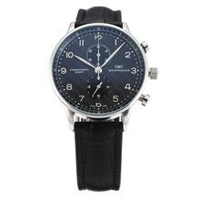 Replique IWC Regulateur de travail Chronographe avec cadran noir-bracelet en cuir - Attractive montre IWC Regulateur pour vous 31856