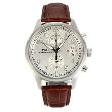 Replique IWC Portugaise Chronographe de travail avec bracelet en cuir gris clair Dial-Brown - Attractive IWC Portugaise montre pour vous 31849