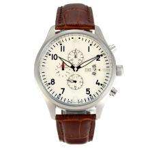 Replique Chronographe IWC Pilot de travail avec bracelet en cuir brun cadran blanc-- Attractive IWC Montre d'Aviateur pour vous 31848