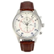 Replique IWC Top Gun Pilot Chronographe Miramar de travail avec cadran blanc - Bracelet en Cuir - Montre d'Aviateur IWC attrayant pour vous 31847